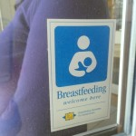 Breastfeeding is welcome here. Sticker to door for businesses providing a safe environment for breastfeeding.